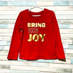 BEING THE JOY T-Shirt Long Sleeve Crew Neck Red